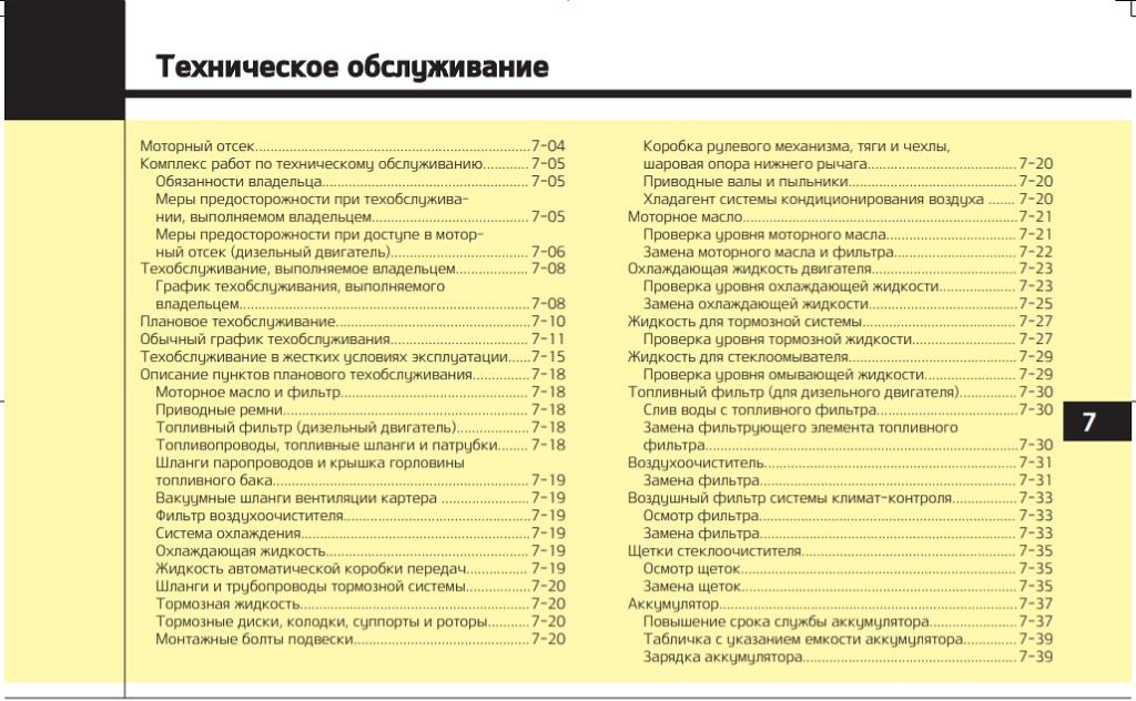 Регламент технического обслуживания Киа Мохаве